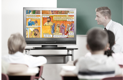 students watching Illustrated Bible
