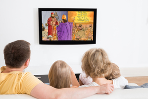 family watching Illustrated Bible