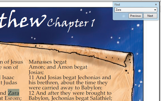 Find text in the Illustrated Bible