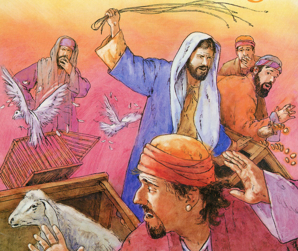 Jesus drives the merchants out of the temple courts